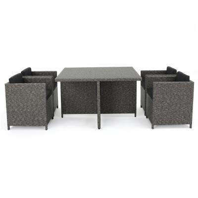 Puerta Grey 5-Piece Wicker Square Outdoor Dining Set with Black Cushions
