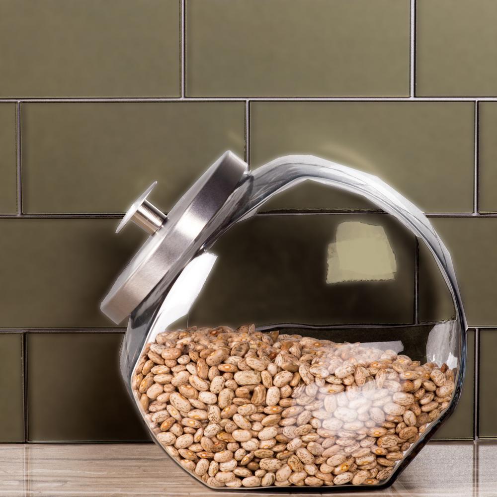 Secret Dimensions 3 in. x 6 in. Bronze Glass Matte Peel and Stick Decorative Wall Tile Backsplash (8-Pack)