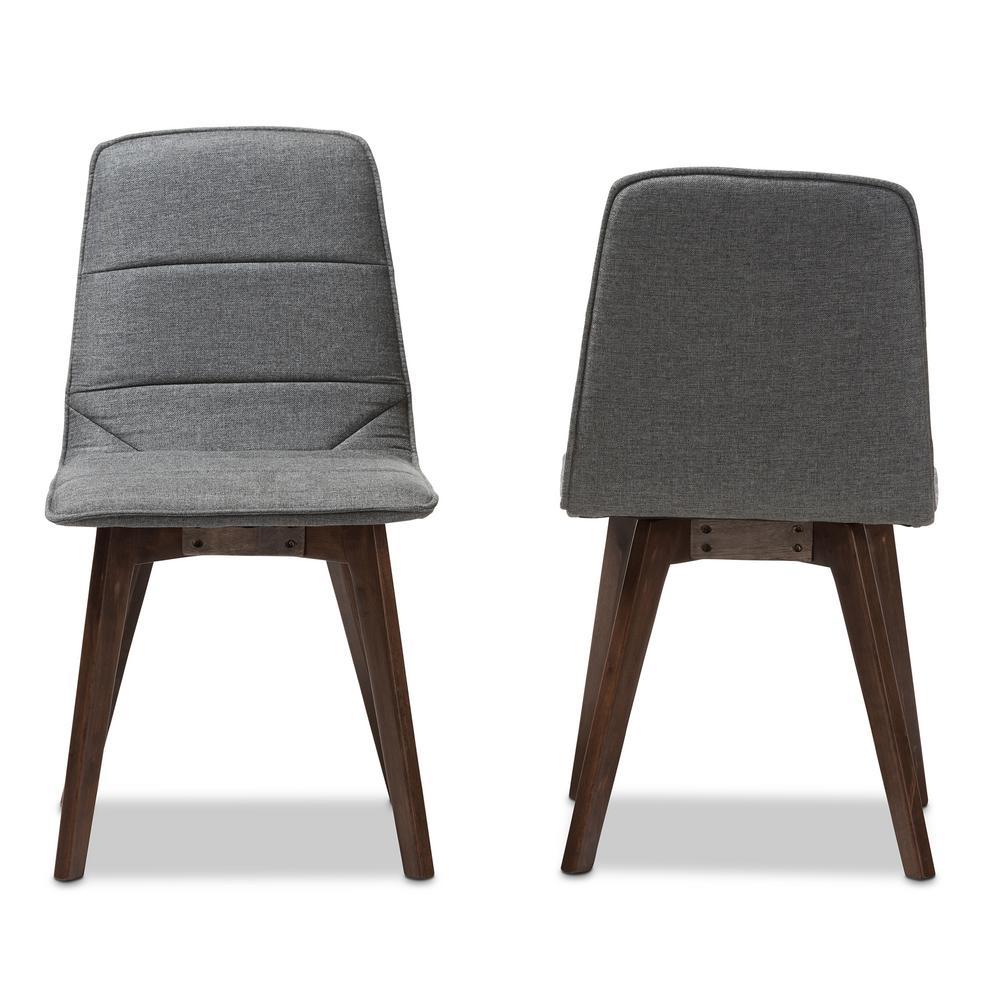 Karalee Dark Gray Fabric Dining Chair (Set of 2)