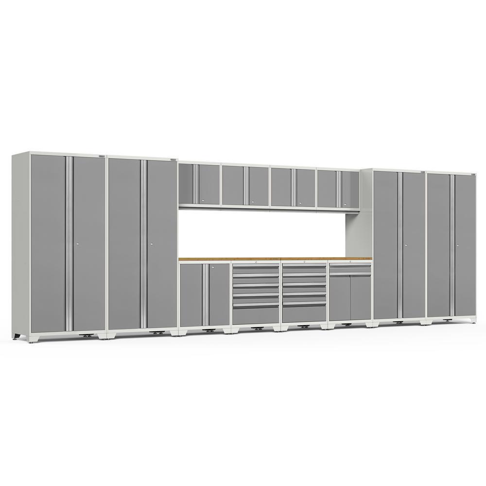 Pro 3.0 256 in. W x 83.25 in. H x 24 in. D 18-Gauge Welded Steel Bamboo Worktop Cabinet Set in Platinum (14-Piece)