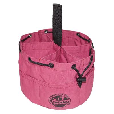 10 in. 6-Pocket Purple Canvas Grab Tool Bag with Drawstring Closure