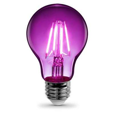 25-Watt Equivalent A19 Medium E26 Base Dimmable Filament Purple Colored LED Clear Glass Light Bulb (1-Bulb)