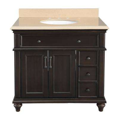 Kenbridge 37 in. W x 22 in. D Vanity in Burnished Walnut with Engineered Stone Vanity Top in Coffee with White Sink