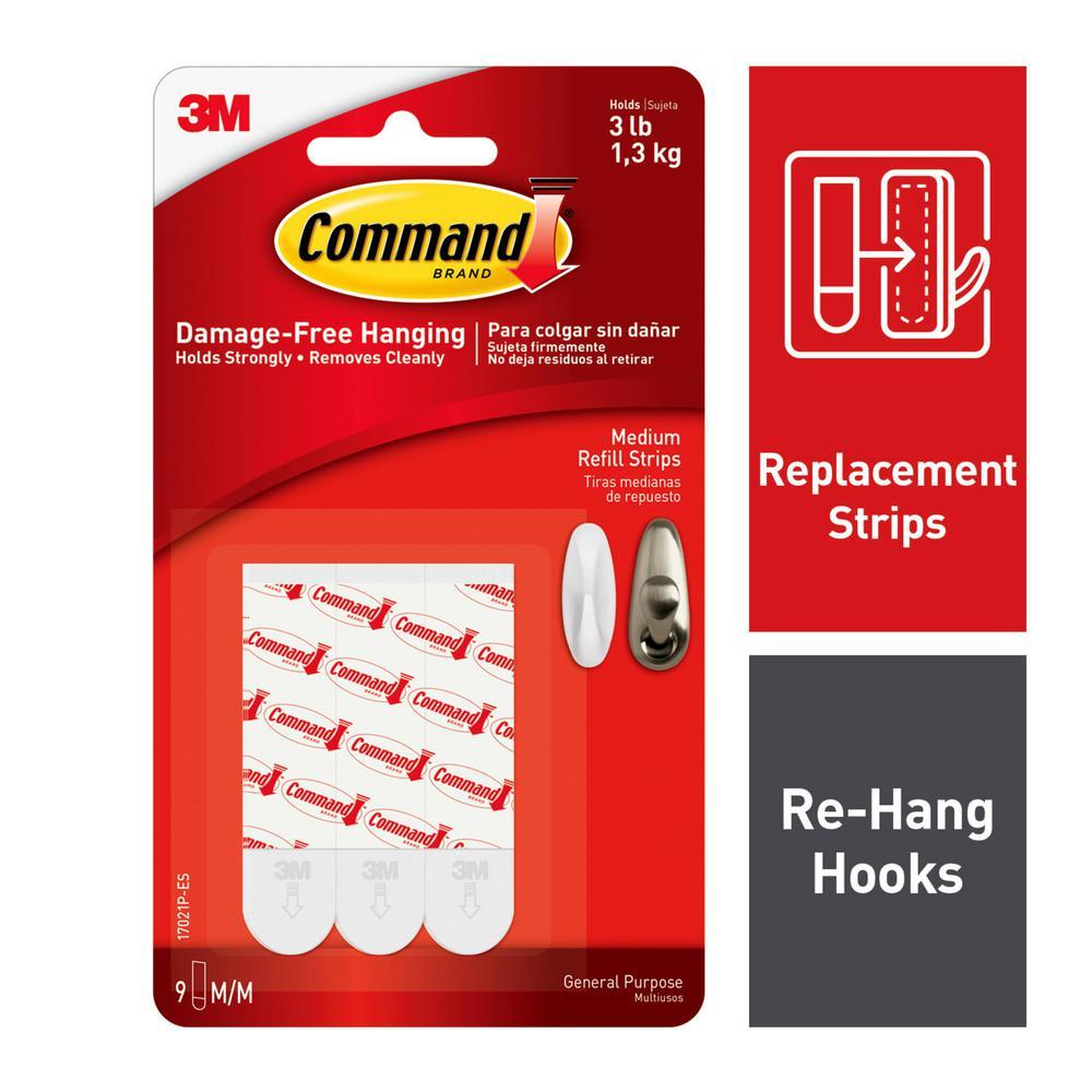 Command 3 lb. Medium White Refill Mounting Strips (9-Pack)