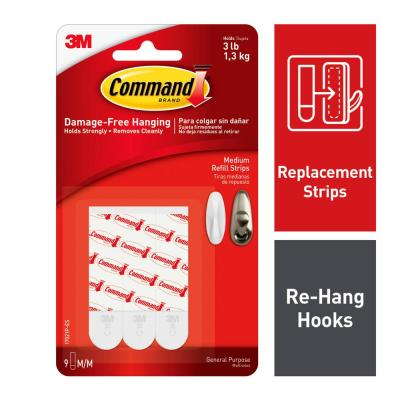 3 lb. Medium White Refill Mounting Strips (9 Replacement Strips)