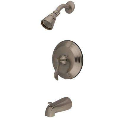French Single-Handle 5-Spray Tub and Shower Faucet in Satin Nickel (Valve Included)