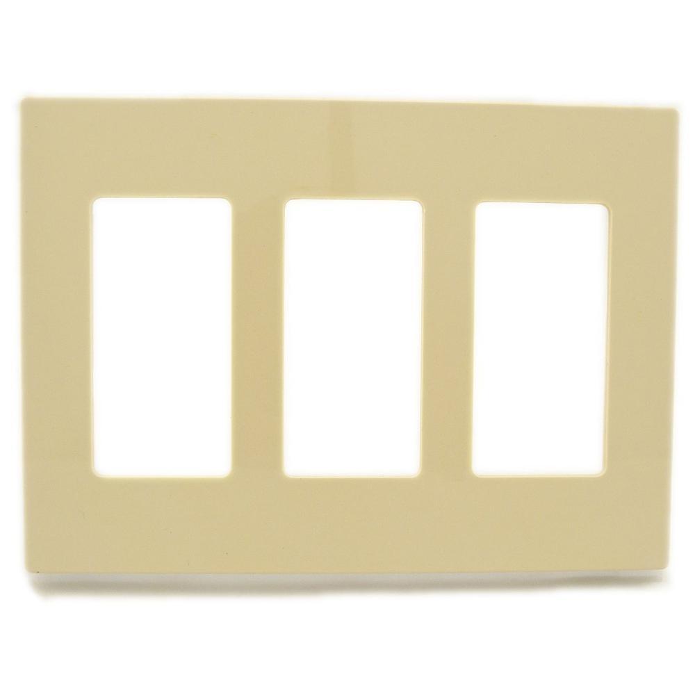 Ivory 3-Gang Decorator/Rocker Wall Plate (1-Pack)