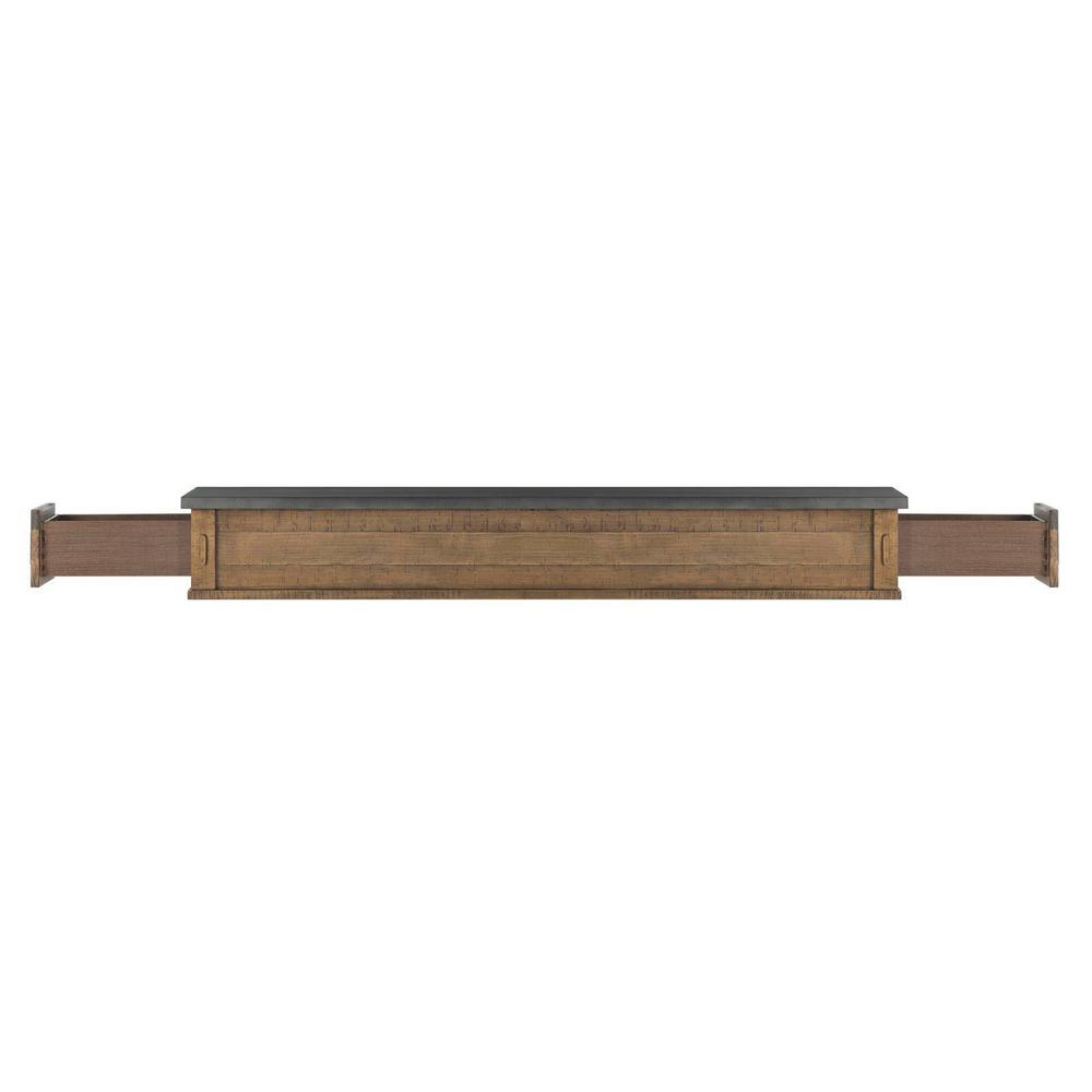 The Austin 4 ft. Pine River Distressed Cap-Shelf Mantel with Side