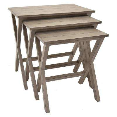23.5 in. x 15.5 in. Gray Wood Nesting Tables (Set of 3)
