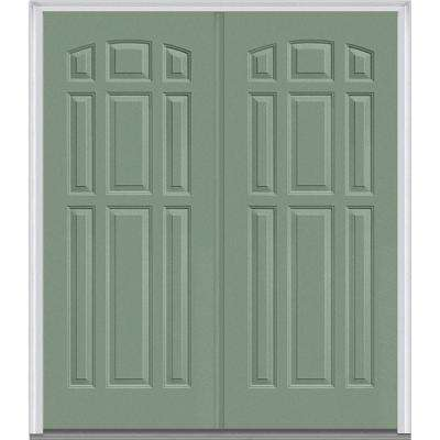 74 in x 8175 in 9 panel painted fiberglass smooth exterior double door - Exterior Double Doors