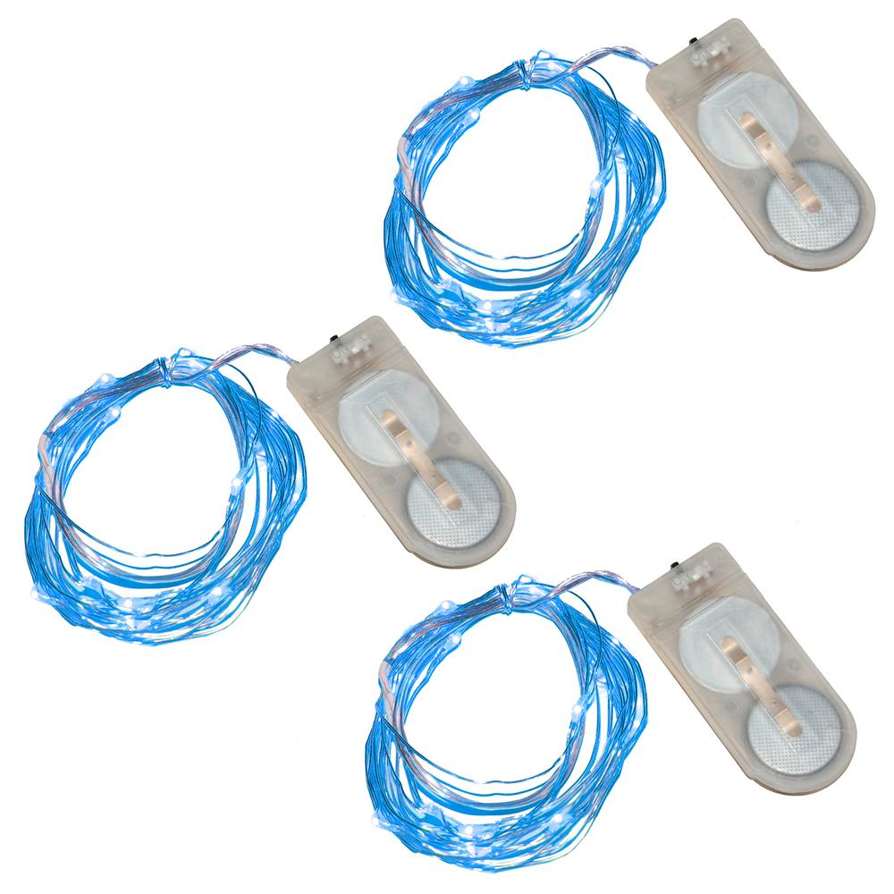 Blue Battery Operated Waterproof Mini String Lights (3-Count)