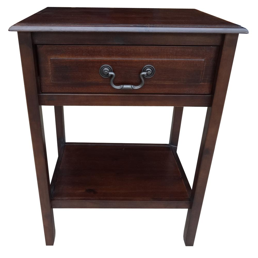 Banks Mahogany Brown Acacia Wood Accent Table With Shelf And Drawer