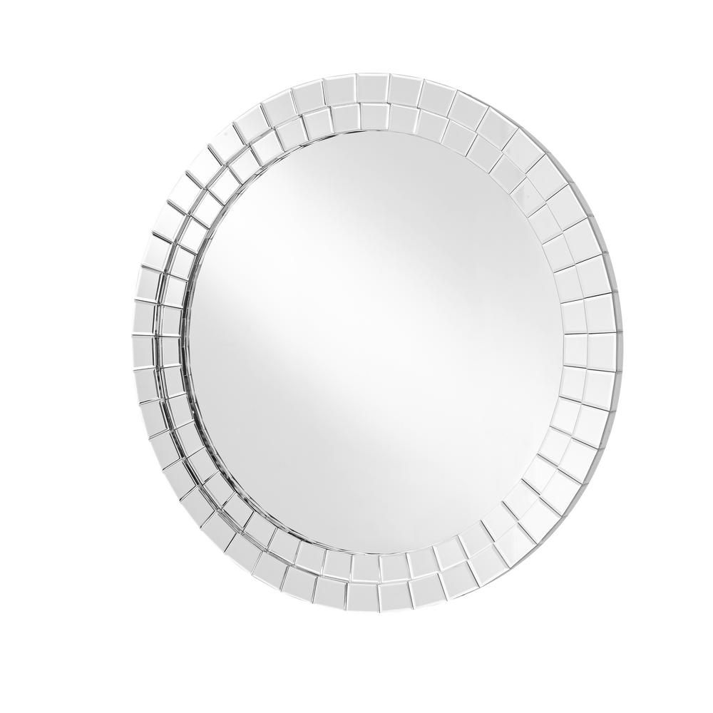 Emory 39.5 in. Contemporary Round Mirror with Clear MDF Frame; Round