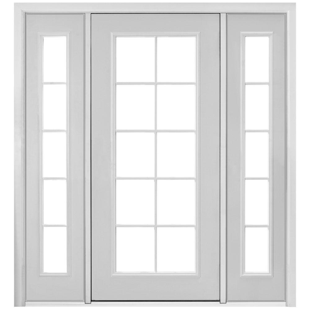 Beautiful Masonite 72 In. X 80 In. Prehung Right Hand Inswing 10 Lite Primed