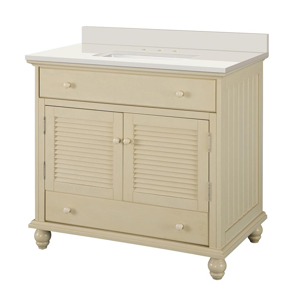 Home Decorators Collection Cottage 37 in. W x 22 in. D Vanity in Antique White with Engineered Marble Vanity Top in Winter White with White Sink