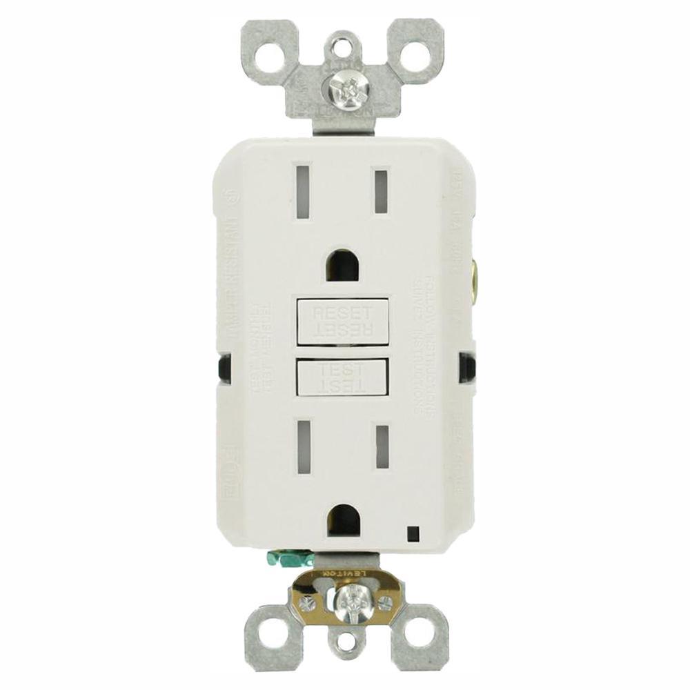leviton 15 amp self test smartlockpro slim duplex tamper resistant gfci outlet, white (3 pack)