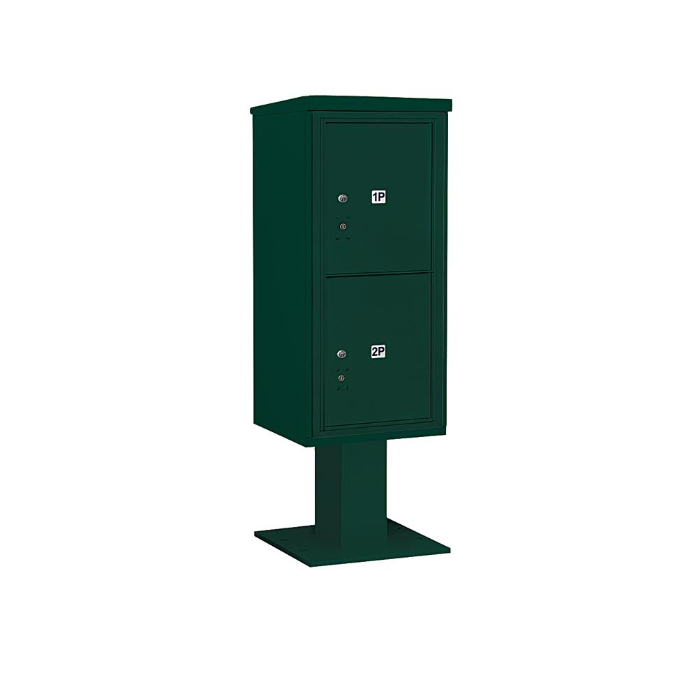 3400 Horizontal Series 2-Parcel Locker Pedestal Mount Mailbox