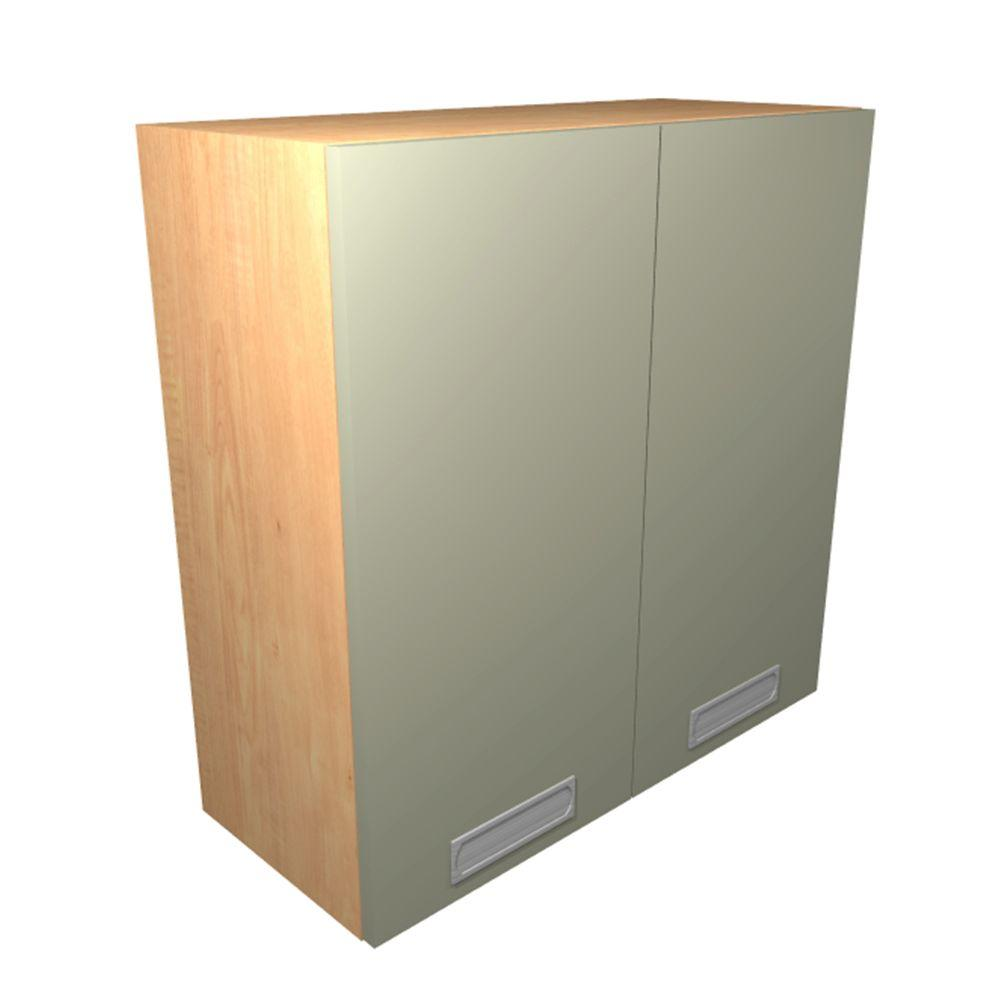 Wall Cabinet Frosted Pull Down Shelves Doors Almond Bro Product Picture