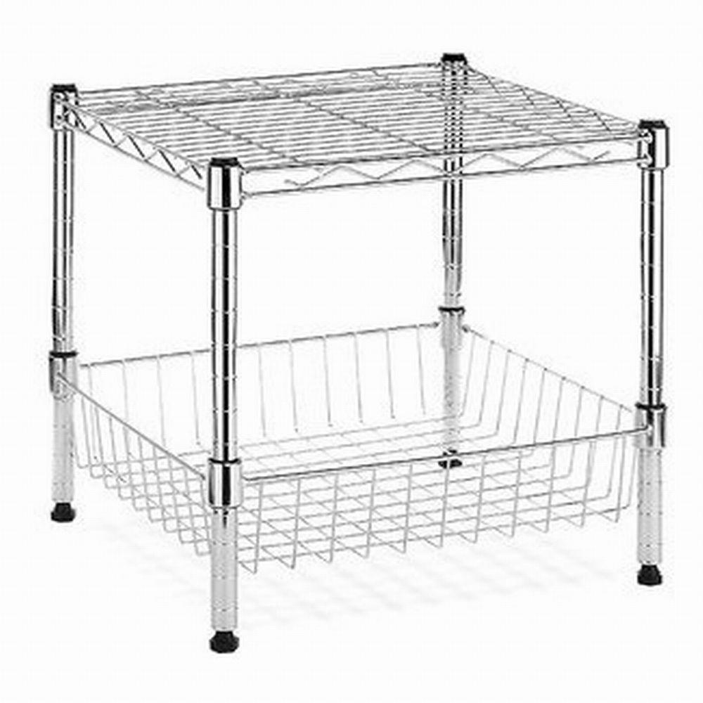 hdx modular 14 75 in x 13 8 in stacking shelf with basket eh wshdu rh homedepot com small stackable wire shelves small wire shelf for sale