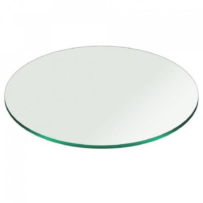 22 in. Clear Round Glass Table Top, 3/8 in. Thickness Tempered Pencil Edge Polish