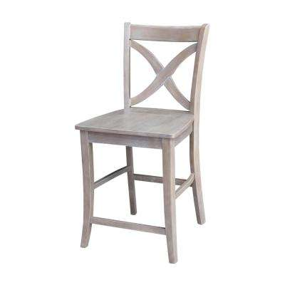 Salerno 24 in. Weathered Taupe Gray Bar Stool