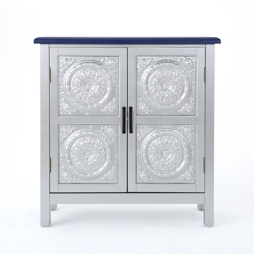 Silver 2-Door Cabinet with Navy Blue Top