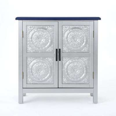 Silver 2-Door Cabinet with Navy Blue Top