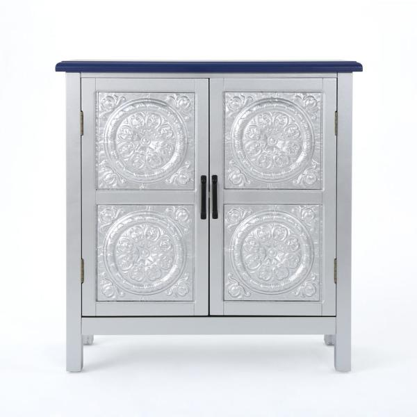 Noble House Silver 2-Door Cabinet with Navy Blue Top 303264