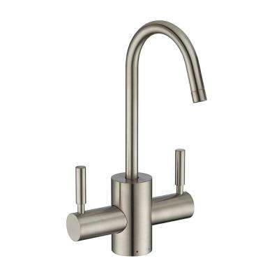 2-Handle Instant Hot and Cold Water Dispenser with Contemporary Spout and Self Closing Handle in Brushed Nickel