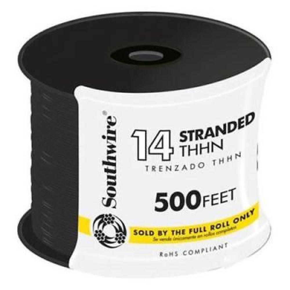 Southwire 500 ft. 14 Black Stranded CU THHN Wire