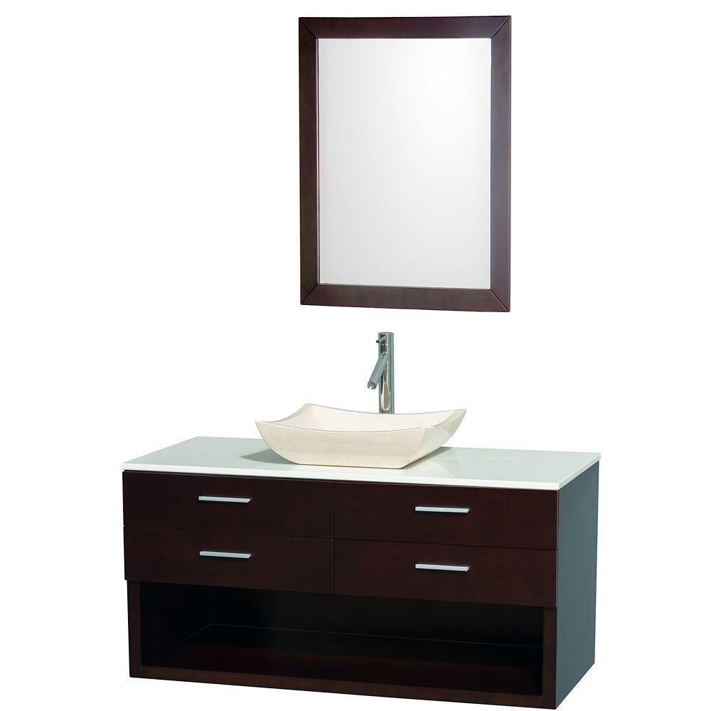 Wyndham Collection Andrea 48 in. Vanity in Espresso with Man-Made Stone Vanity Top in White and Sink-DISCONTINUED