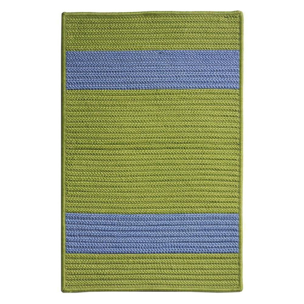 Cafe Milano 2 ft. x 11 ft. Bright Green/Blue Indoor/Outdoor Braided