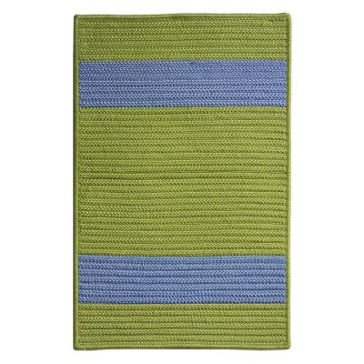 Cafe Milano Bright Green/Blue 2 ft. x 11 ft. Braided Indoor/Outdoor Runner Rug
