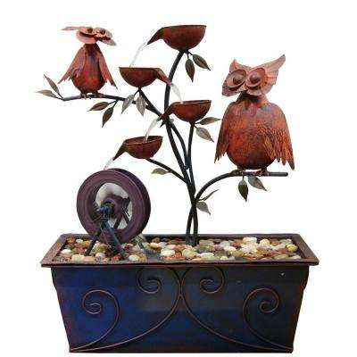 24 in. Metal Owls Tiering Fountain
