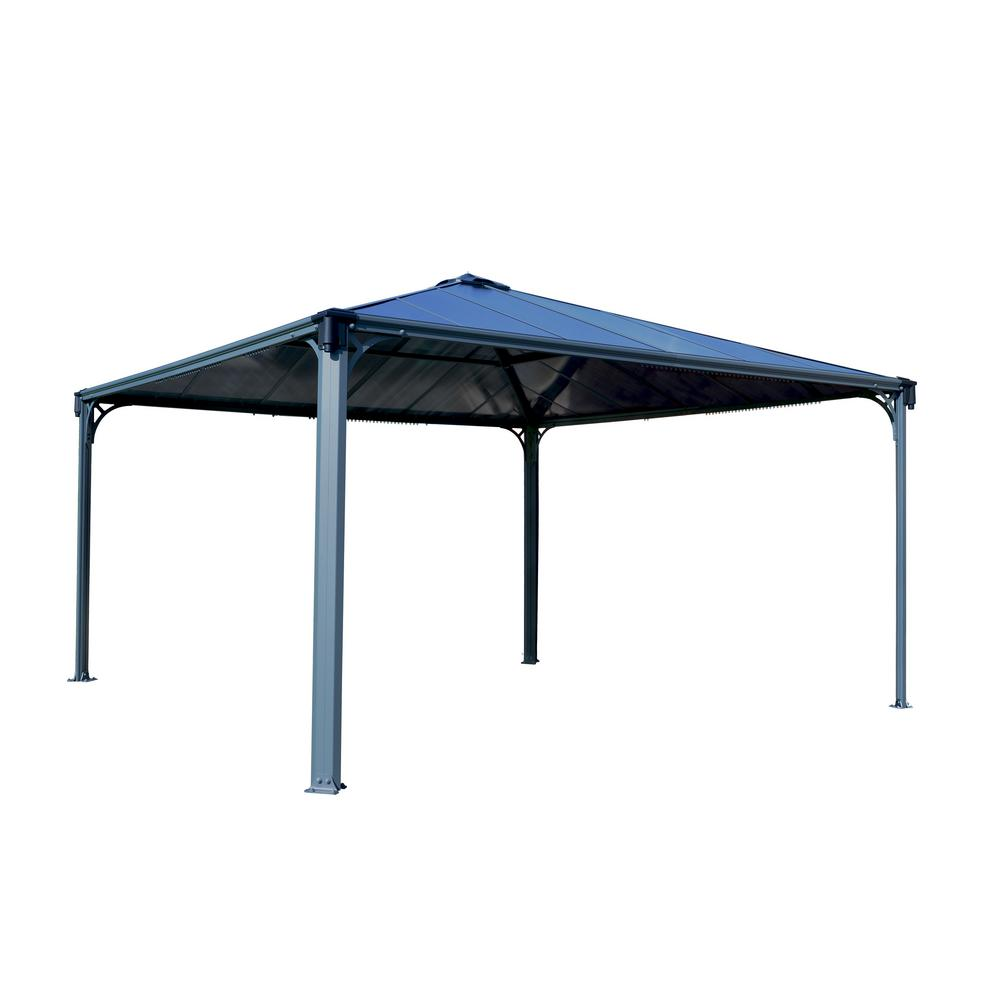palram palermo 4300 14 ft x 14 ft aluminum frame and hard top gazebo 704044 the home depot. Black Bedroom Furniture Sets. Home Design Ideas