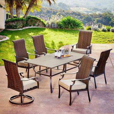 Rhone Valley 7-Piece Wicker Outdoor Dining Set with Tan Cushions