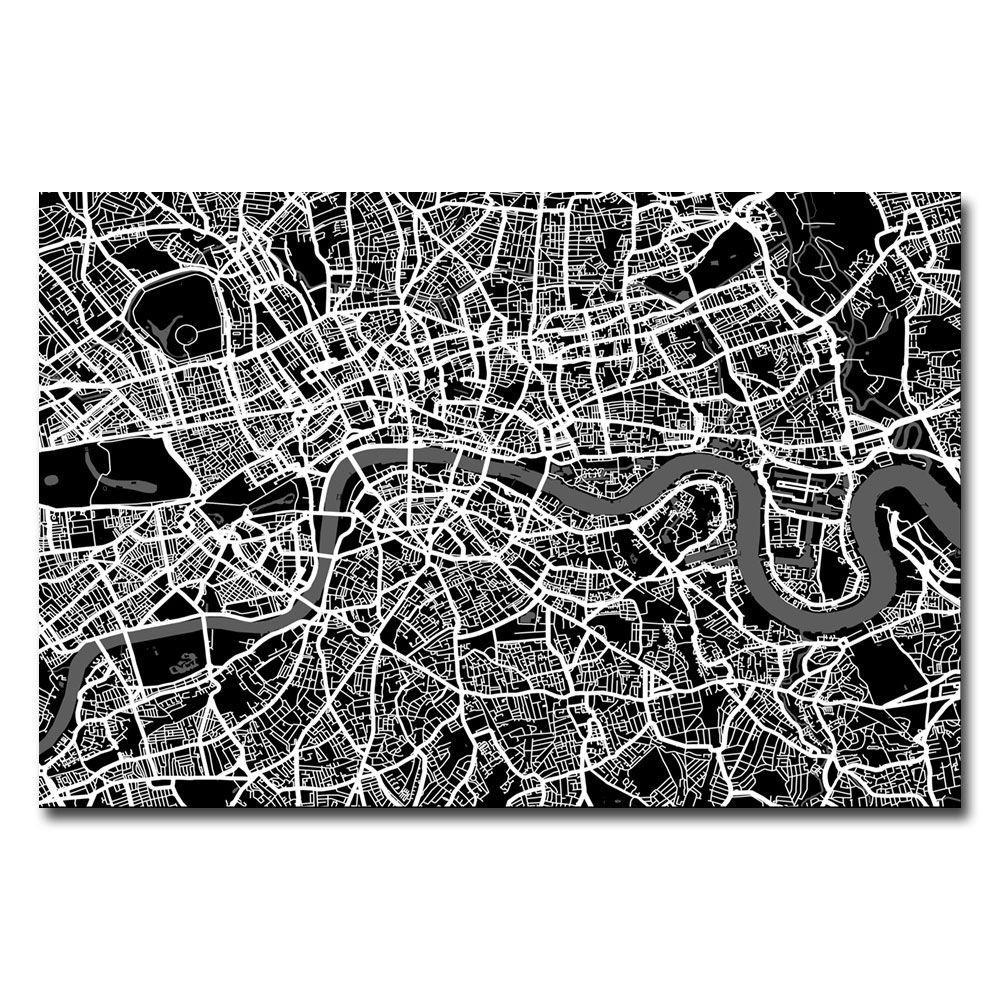 Trademark Fine Art 16 in. x 24 in. London Street Map I Canvas Art