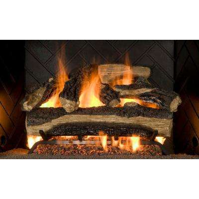 Mountain Oak 24 in. Vented Gas Log Set NG/LP with Manual Safety Pilot