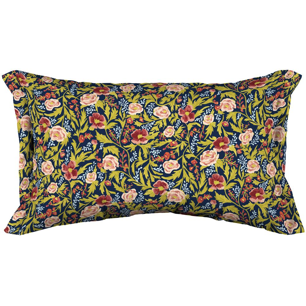 Arden Selections Arden Selections Artisans 12 in. x 20 in. Cecelia Floral Lumbar Throw Pillow with Side Flange