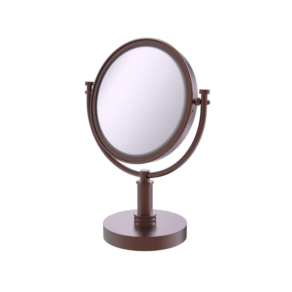 8 in. x 15 in. Vanity Top Makeup Mirror 4x Magnification in Antique Copper