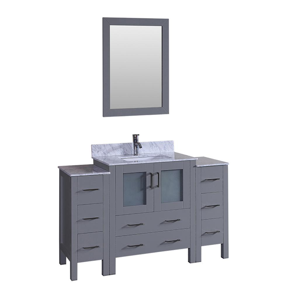 Bosconi 54 in. W Single Bath Vanity with Carrara Marble Vanity Top in Gray with White Basin and Mirror
