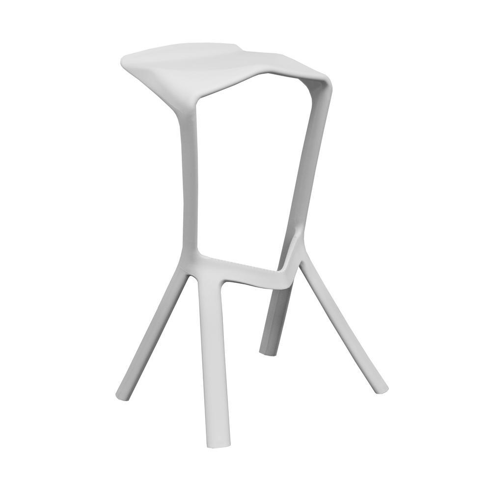 32 in. White Aspect Modern Plastic Barstool (Set of 2)