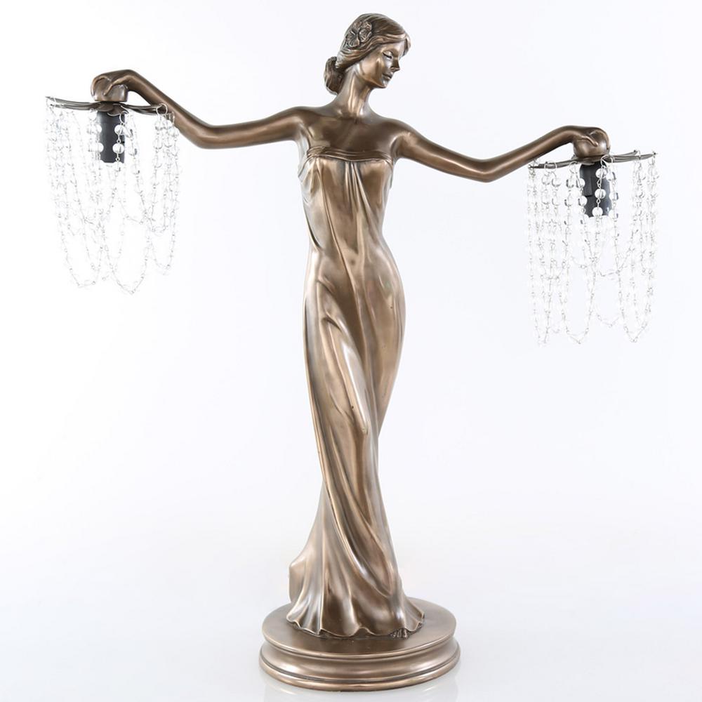 River of Goods 23.75 in. Bronze Grecian Goddess Lamp