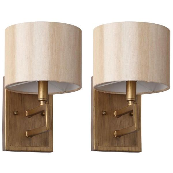 Catena 6.5 in. 2-Light Antique Gold Sconce with Cream Shade (Set of 2)