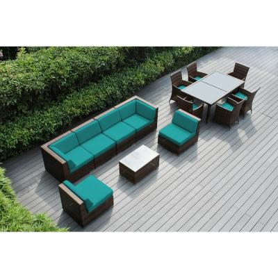 Ohana Depot Mixed Brown 14 Piece Wicker Patio Combo Conversation Set With Sunbrella Aruba Cushions Pnc1401mb Sar The Home Depot
