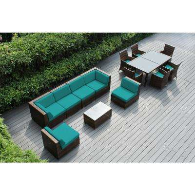 Mixed Brown 14-Piece Wicker Patio Combo Conversation Set with Sunbrella Aruba Cushions