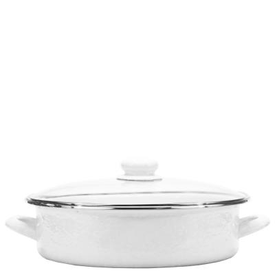 Solid White 8 Qt. Enamelware Saute Pan with Lid