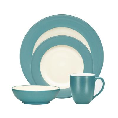 Colorwave Rim 4-Piece Casual Turquoise Stoneware Dinnerware Set (Service for 1)