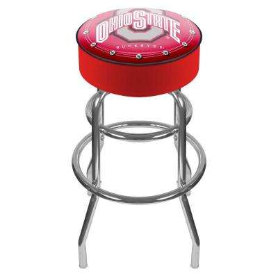 Ohio State University Logo 31 in. Chrome Padded Swivel Bar Stool