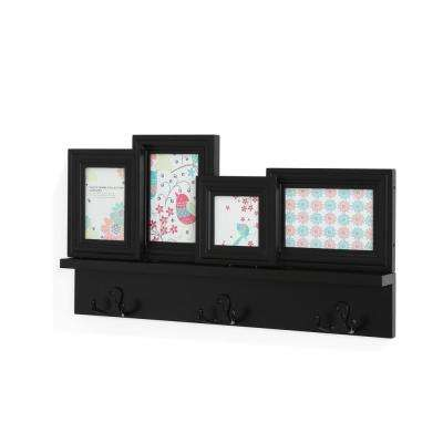 Maison 22 in. x 2.5 in. Black Hanging Rack with Built-In Photo Frames